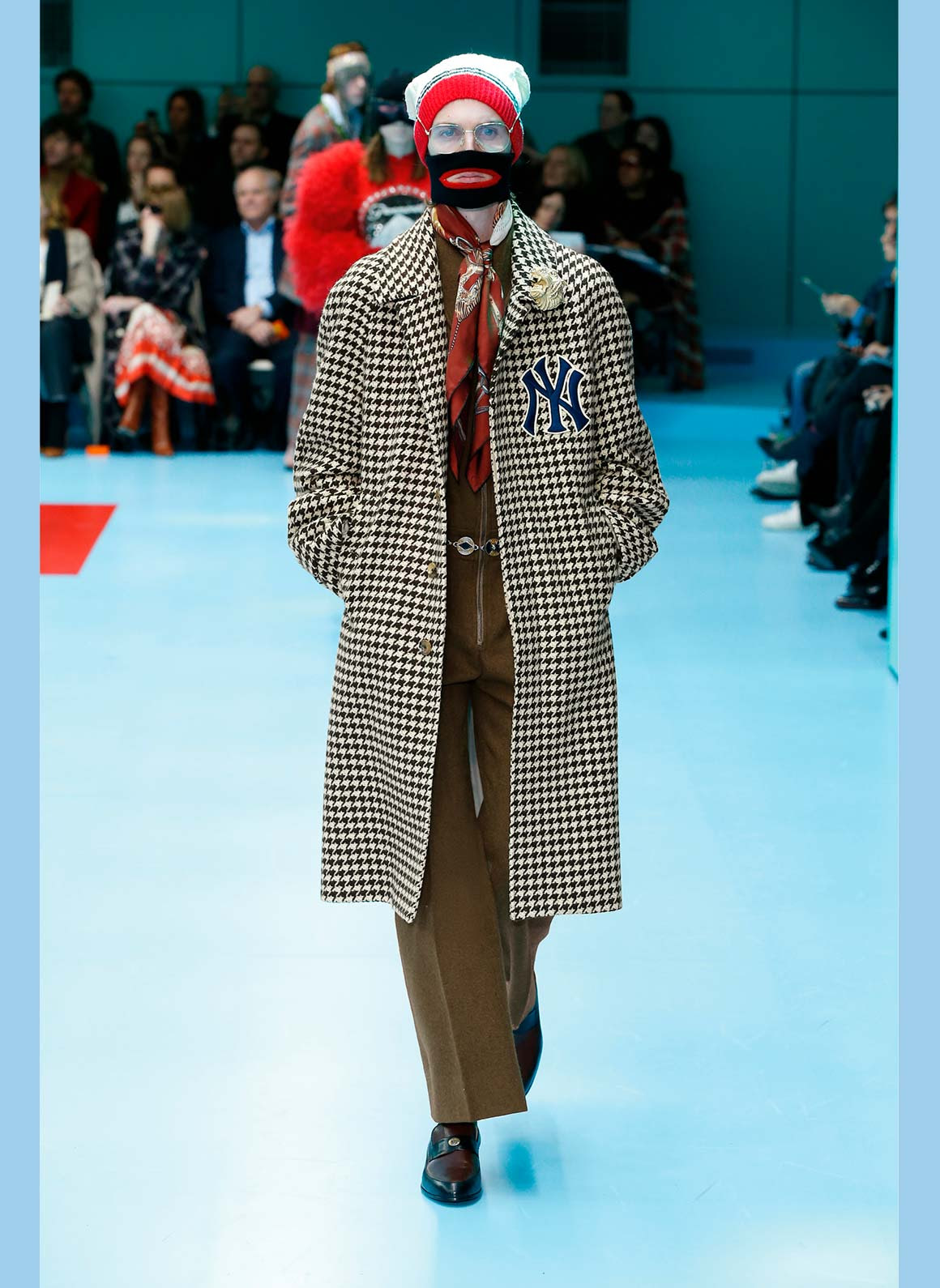 ba16bcece174f Gucci Houndstooth Coat with New York Yankees Patches - inCity Magazine