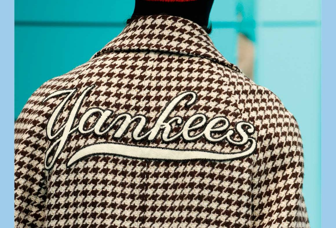 Gucci Houndstooth Coat with New York Yankees Patches
